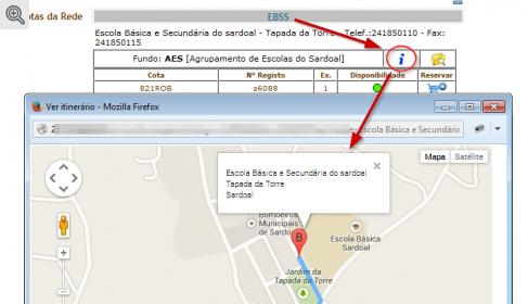 O botão INFO exibe o mapa para a biblioteca
